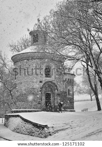 Rotunde church in Vysehrad in winter, Prague, Czech Republic - stock photo