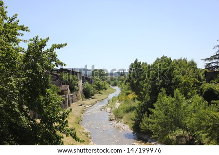 Roubion river in Pont de Barret village, Drome valley, Provence, South of France - stock photo