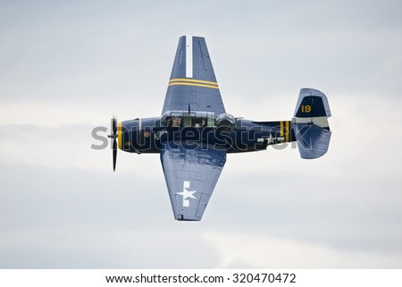 Roudnice nad Labem, CZECH REPUBLIC - JUN 27.: TBM-3E Avenger flying a demonstration at the MEMORIAL AIR SHOW 2015 on June 27., 2015 in Roudnice nad Labem, Czech republic.