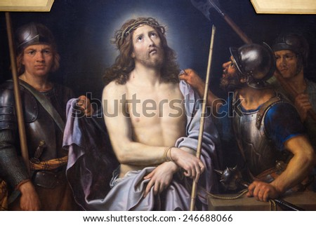 ROUEN, FRANCE - FEBRUARY 10, 2013: Painting depicting Jesus on Good Friday, in the Museum of Rouen, France. This painting was created by Pierre Mignard and finished in 1690. - stock photo
