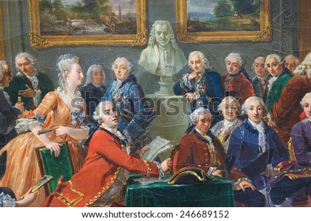 ROUEN, FRANCE - FEBRUARY 10, 2013: Painting depicting the reading of the tragedy l'Orphelin de la China by Voltaire in the salon of Madame Geoffrin in Paris in 1775. - stock photo