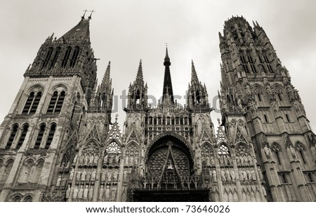 Rouen, Normandy - huge medieval gothic cathedral in France