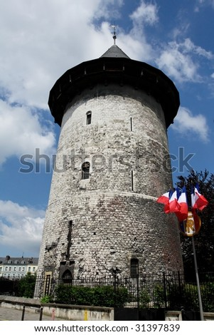 Rouen tower with flag - stock photo