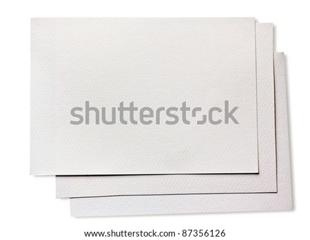 Rough clean watercolor paper isolated on white - stock photo