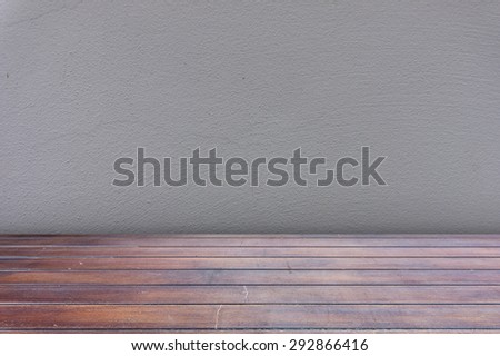 Rough concrete wall and brown wood floor with clipping path, easy to adjust on each element.