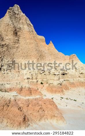 Rough Landscape of Badlands National Park - stock photo