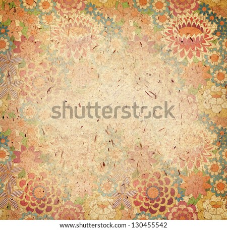 rough paper, floral textured background - stock photo