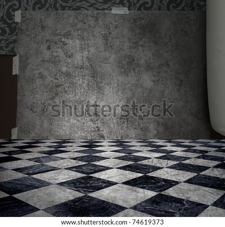 Rough patina silver wall in checkered marble floor room - stock photo