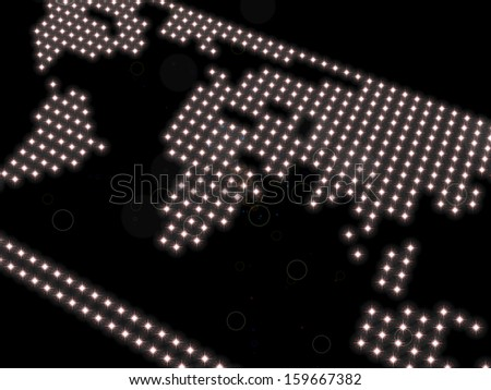 rough representation of the world map, composed of spotlights, on a black background, referring to concepts such as globalization, worldwide concerns, as well as travel - stock photo