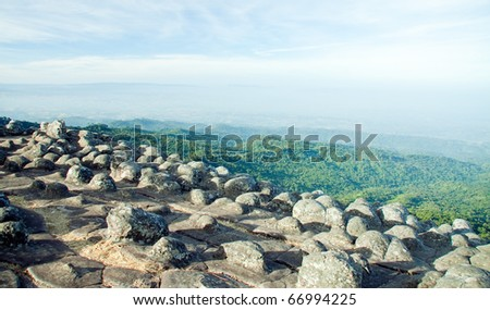 Rough rock bud field with mountain background, Laan Hin Pum Pitsanulok north of Thailand - stock photo