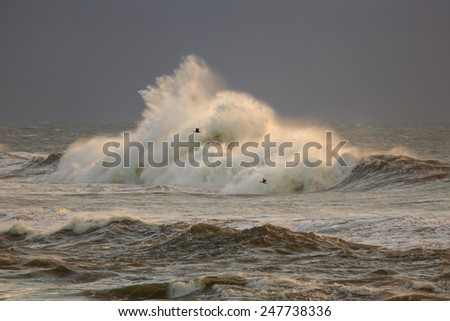 Rough sea with big breaking wave against rocks in a stormy evening - stock photo