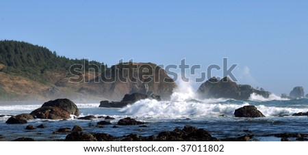 Rough seas along the Oregon coast - stock photo