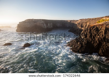 Rough seas pound the rugged coast of Mendocino in northern California, one the most beautiful parts of the American west. This region is only three hours from San Francisco. - stock photo