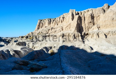 Rough Terrain at Badlands National Park - stock photo