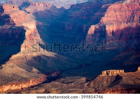 Rough texture of the Grand Canyon landscape of Arizona, USA