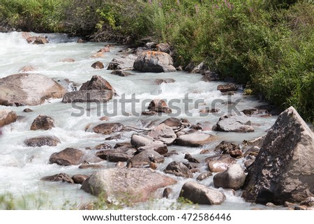 rough water in a mountain river
