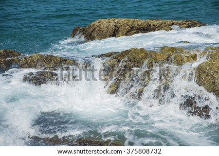 rough water with splashes on a sea or ocean nature background - stock photo
