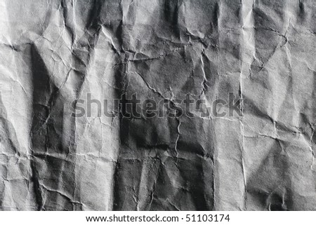 Rough wrinkled carton paper texture with deep shadows - stock photo