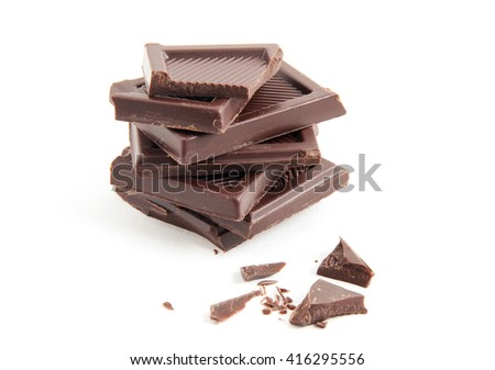 Roughly cut chunks of a chocolate bar