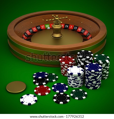 Roulette and casino chips on a green background - stock photo