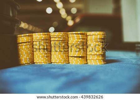 Roulette betting with casino chips placed - stock photo