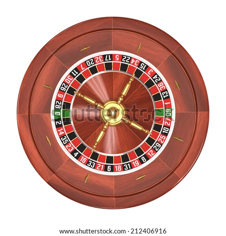 Roulette gambling on white background. Clipping path included.