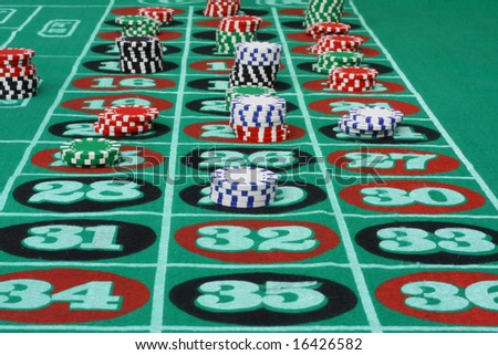 Roulette Game with Chips - stock photo
