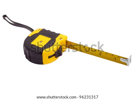 roulette meter instrument measuring measuring tape isolated on white - stock photo
