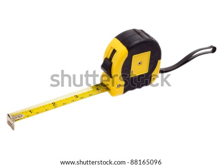 roulette meter measuring instrument measuring tape isolated - stock photo