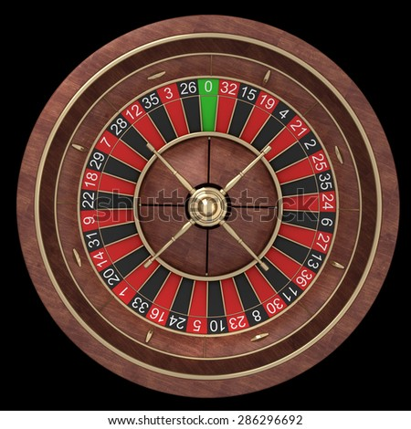 Roulette wheel isolated on black background. High resolution 3d