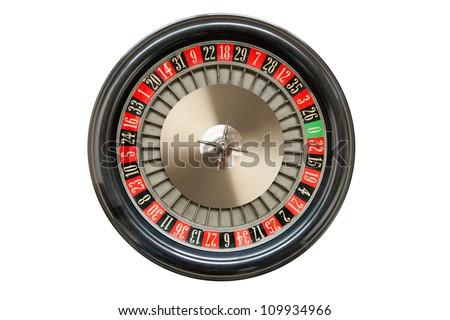 Roulette wheel isolated on white background - stock photo