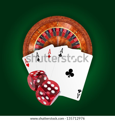 Roulette wheel, poker of aces and dices design, 3d render - stock photo