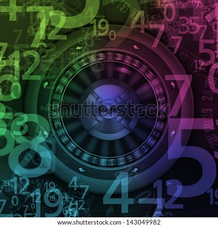 Roulette Wheel Spinning in Casino with random numbers illustration - stock photo