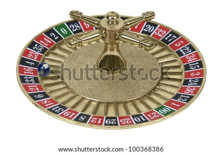 Roulette Wheel used in a casino gambling game with a globe for the ball - stock photo