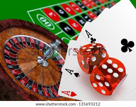 Roulette with table, dices and playing cards concept, 3d render - stock photo