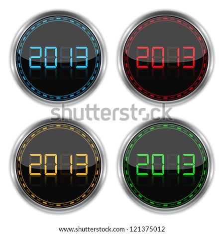 Round badges with number 2013