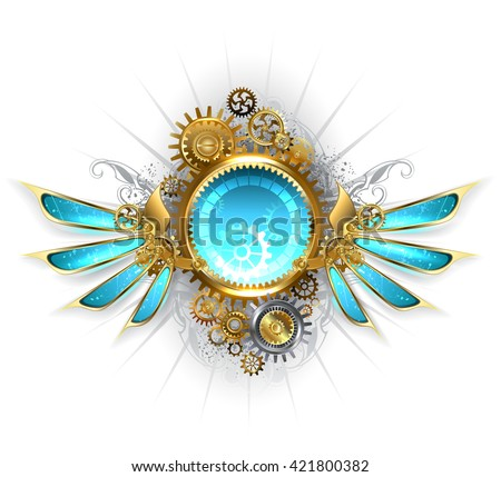 Round banner with gold and brass gears, decorated with blue glass mechanical wings on a white background. Design with gears. Technical Design. Gold gear. - stock photo
