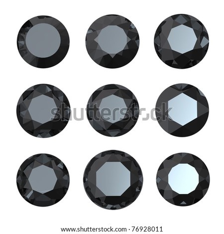 Round black sapphire isolated on white background. Gemstone - stock photo