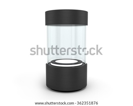 round black Showcases with a pedestal with lighting inside - stock photo