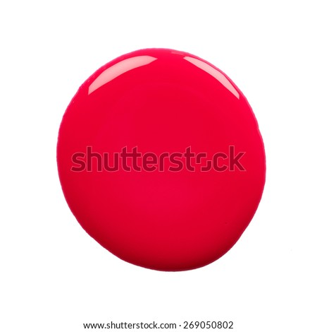 Round blot of red nail polish isolated on white background - stock photo