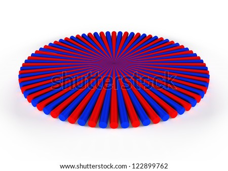 round blue and red icon, 3d geometry