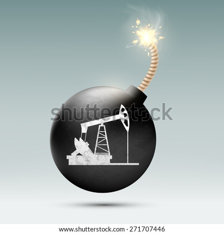 round bomb with a fuse and a picture of a pump for oil - stock photo