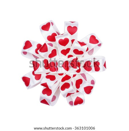 Round bow from ribbon hearts for St. Valentine's Day isolated on the white - stock photo