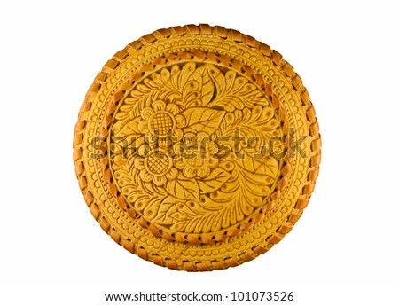 round box with engraving, isolated on white background, top view - stock photo