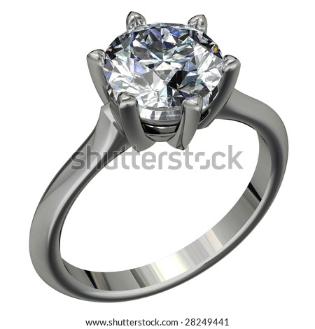 round brilliant cut diamond platinum solitaire engagement ring on white - stock photo