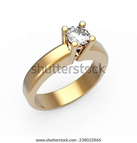 Round brilliant cut diamond solitaire engagement ring on white - stock photo
