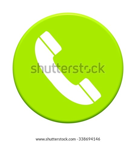 Round Button showing icon symbol of Phone - stock photo