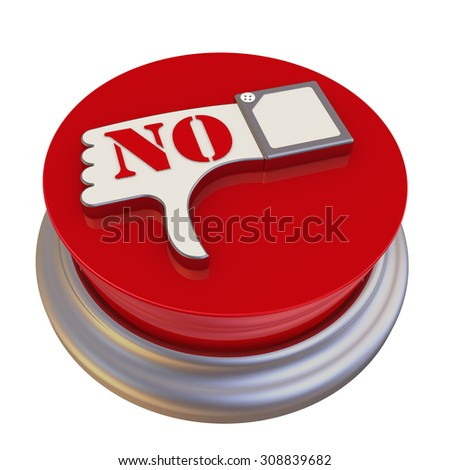 """Round button with the symbol of the negative review. Hand gesture of disapproval, disagreement (THUMBS DOWN) with inscription """"NO is on the red button. Isolated - stock photo"""