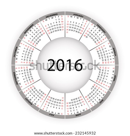 Round calendar for 2016 year. - stock photo