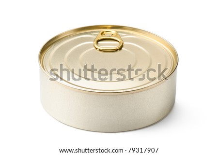Round can with key. Isolated on white. - stock photo